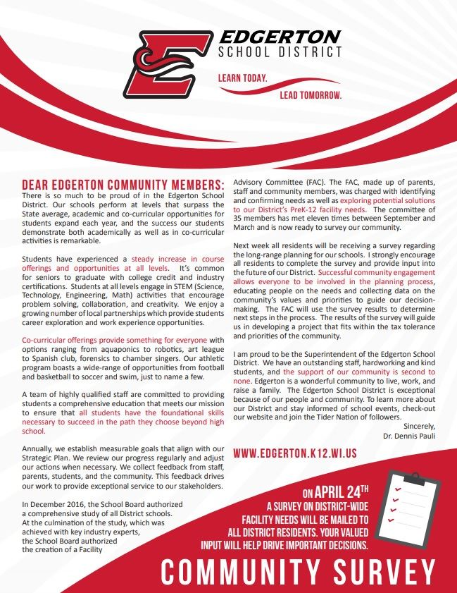 Edgerton SD Facilities Timeline and District Highlights